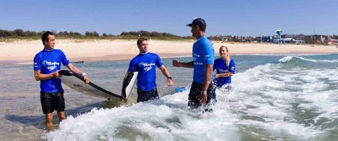 Learn to surf in waist deep water